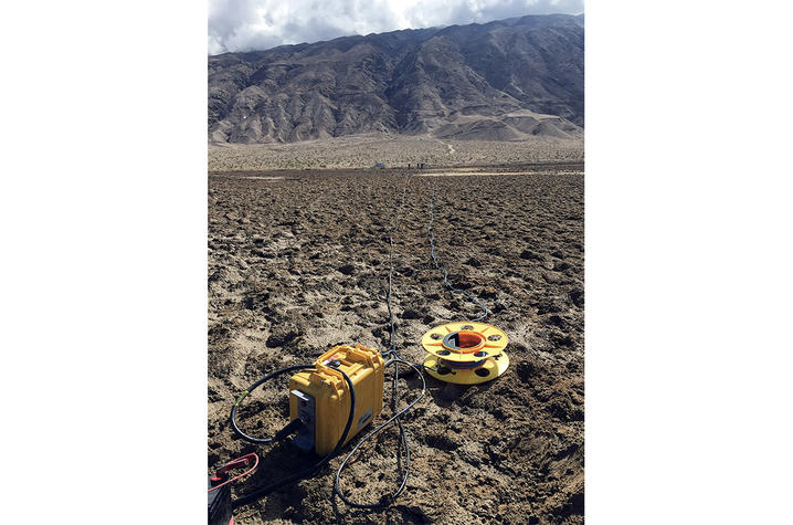 photo of a seismograph node in Death Valley