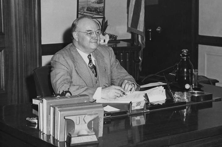 photo of Earle C. Clements at desk