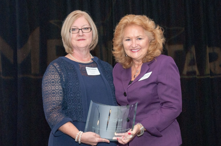 Fran Feltner with Jan Gordon, president of Spencerian College and sponsor of the A.O. Sullivan Award for Excellence