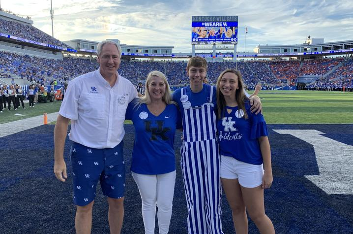 photo of the UK 2019 Family of the Year, father Tony, mother amy, son Nathan and daughter Abby, who is a UK student.