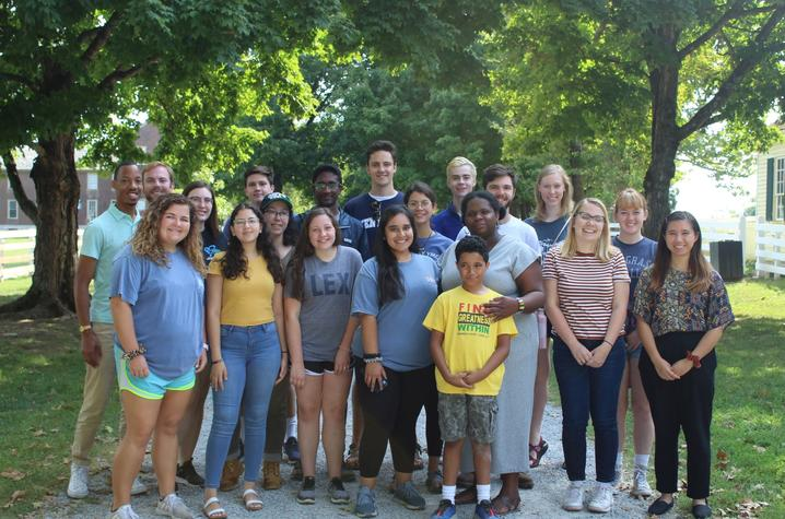 photo of Gaines Fellows with Melynda Price and her son at Shakertown 2019
