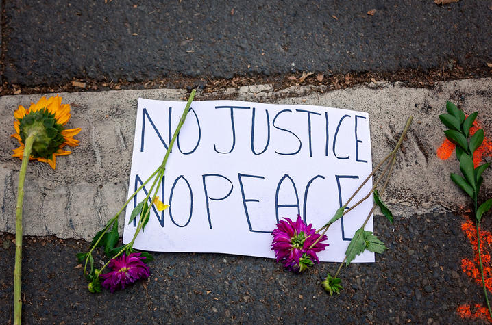 "photo of protest sign ""No Justice No Peace"""