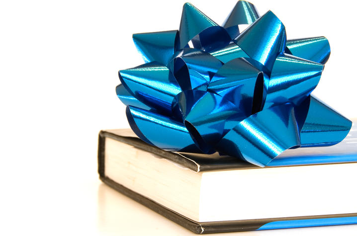 photo of book with blue bow on it