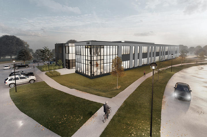 rendering of Woodbury building and lab at Coldstream Research Campus