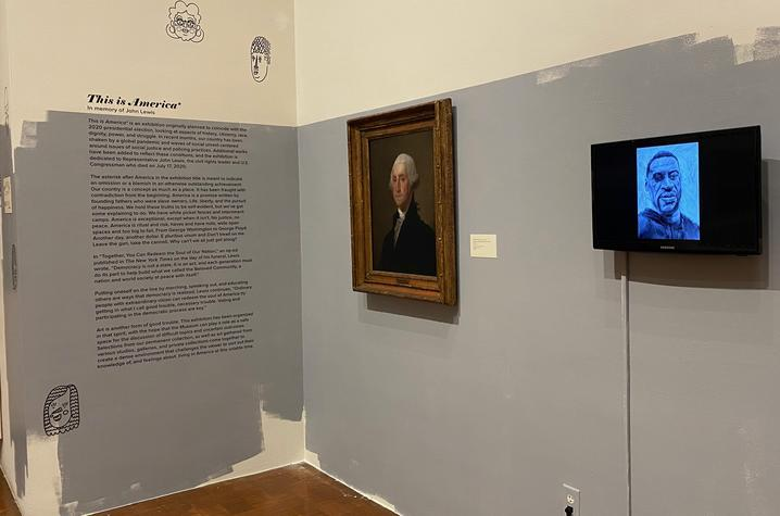 """photo of artwork featurning George Washington and George Floyd in """"This is America*"""""""