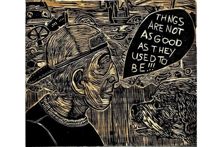 "photo of woodcut print of man saying ""Thngs are not as good as they used to be!!!"" to a dog"