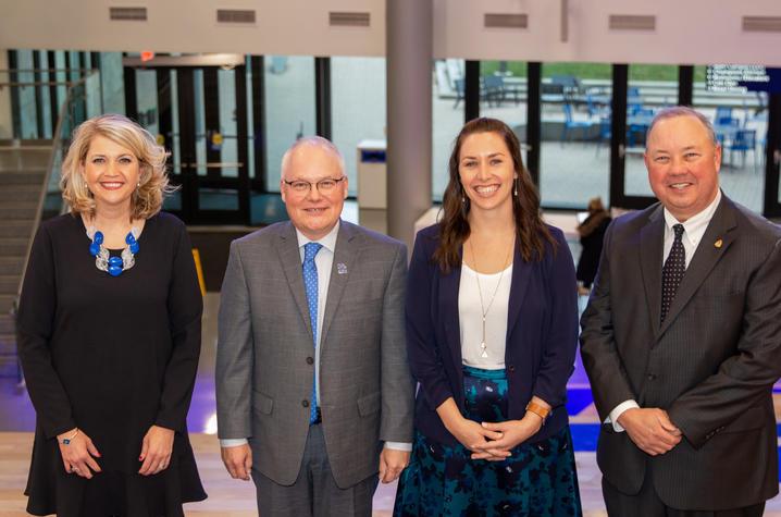 photo of Mobley Award winners Jill Smith, Mark Pearson, Katie Sanders, and Stuart E. Brown, II