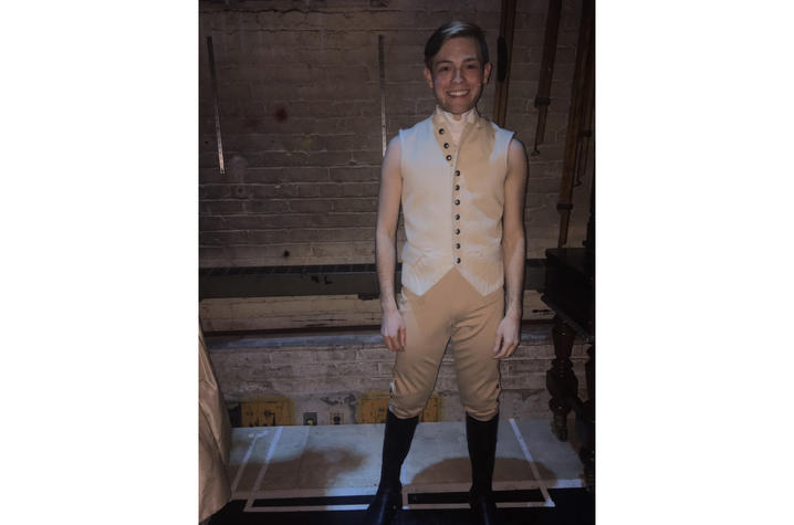 "photo of Patrick Garr in ensemble costume for ""Hamilton"""