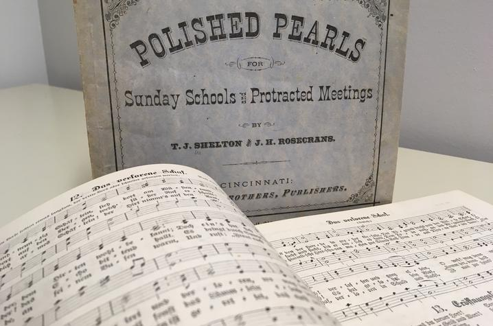 "photo of cover and pages from ""Polished Pearls for Sunday Schools and Protracted Meetings"""