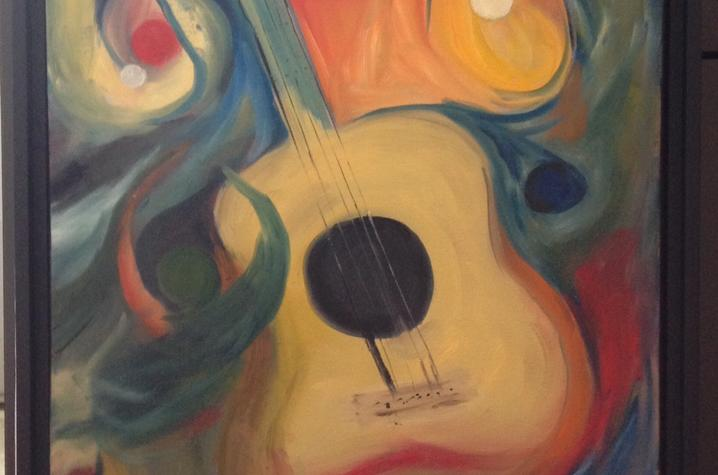Photo of painting of guitar