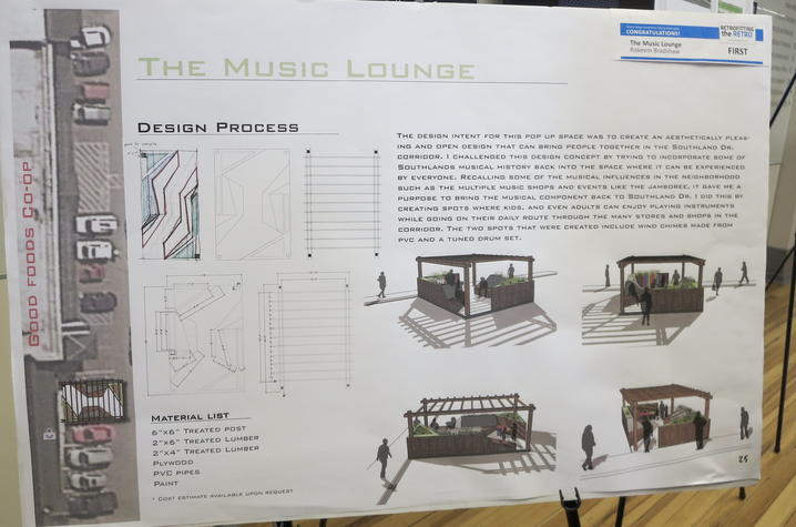 """photo of Rakeem Bradshaw's """"The Music Lounge"""" proposal for Southland Drive"""