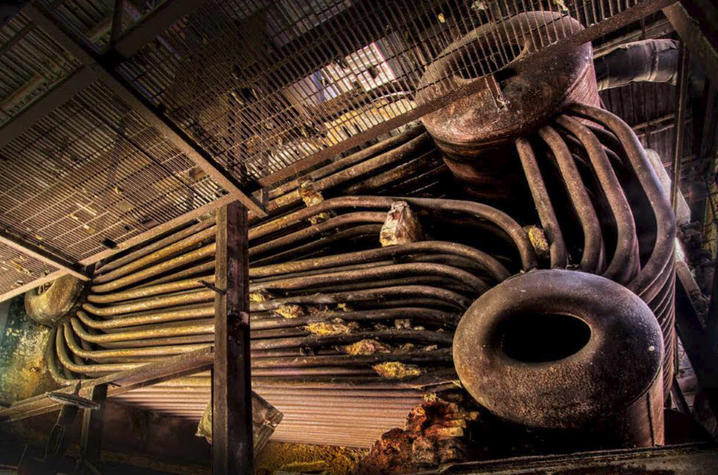 "photo of boiler pipes from JE Pepper Distillery - ""The Birth of Bourbon"" by Carol Peachee"