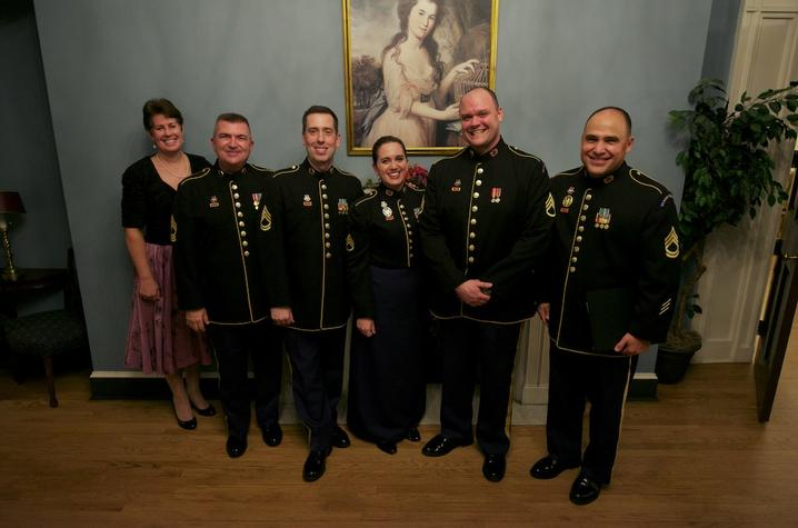 photo of U.S. Soldiers' Chorus members Jeremy Cady, Mark Huseth, Mario Garcia and Charis Strange and 2 others