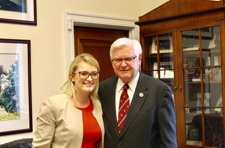 photo of WilDCats at the Capitol intern Jorden Jones with Congressman Hal Rogers.