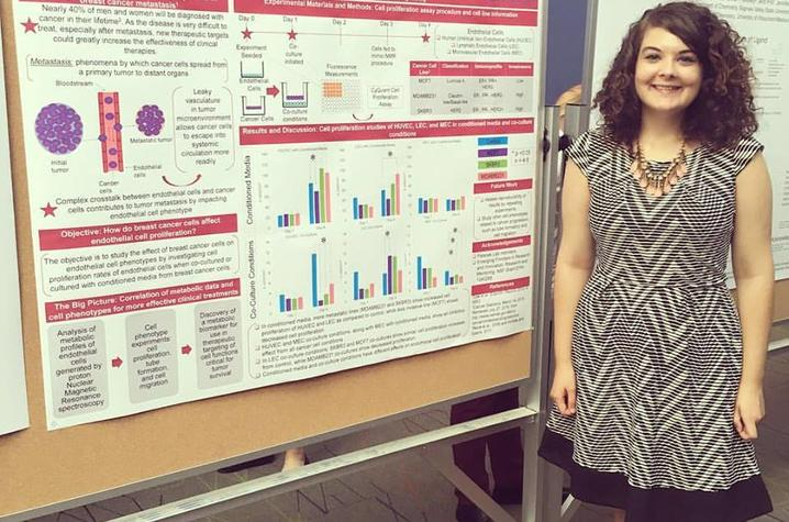 photo of Kate Dray with research presentation