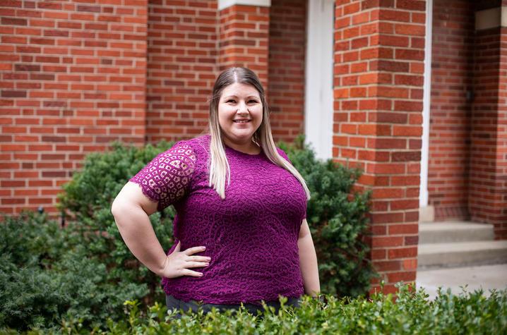 UK Health Corps academic coordinator Leah Vance-Berg photographed outside Mandrell Hall