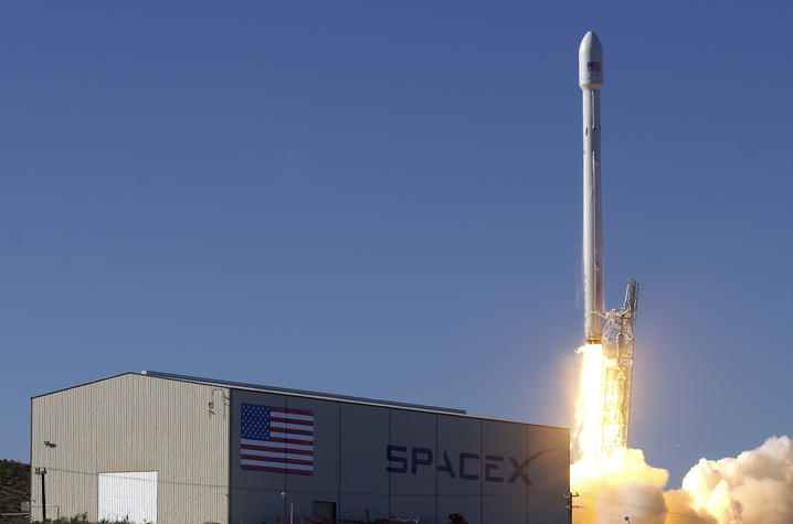 This is a photo of a launch at SpaceX.