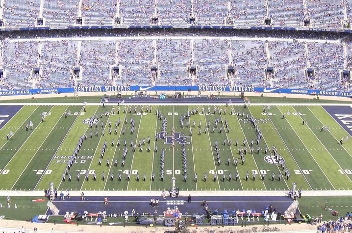 photo of Wildcat Marching Band in 22 formation at UK's opening game of 2019