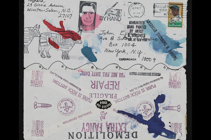 photo of mail art collaboration sent to John Evans from Richard Canard