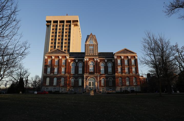 photo of Main Building with Patterson Office Tower behind it