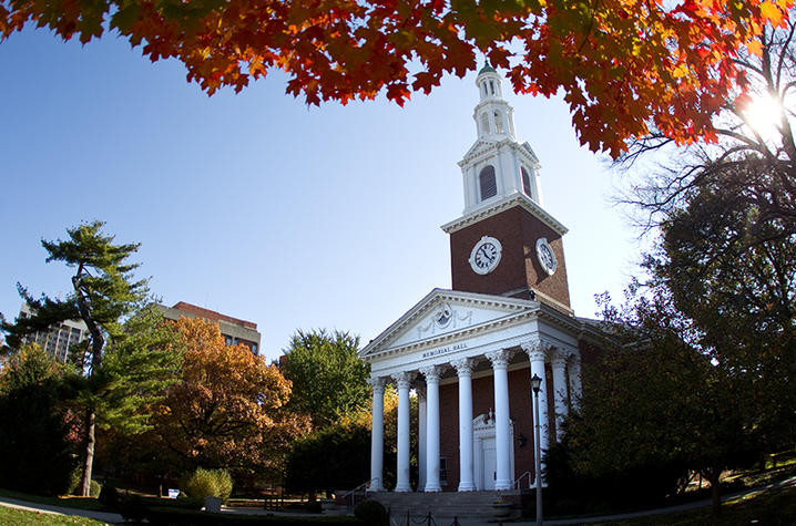 photo of Memorial Hall in fall