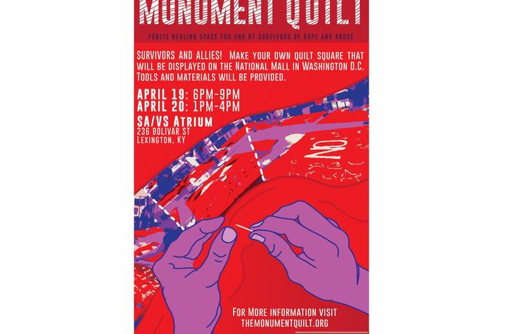 photo of Monument Quilt event poster at UK