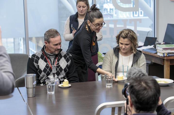 Photo of Taria Camerino (C) with Neurogastronomy Challenge judges Barry Warner and Erika Radhakrishnan