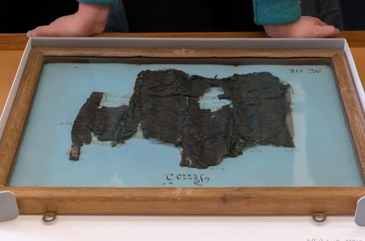 photo of a carbonized fragment of a scroll