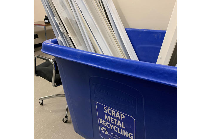 Thanks to UK Recycling, the cardboard, metal ballasts, and ceiling tiles will be recycled.