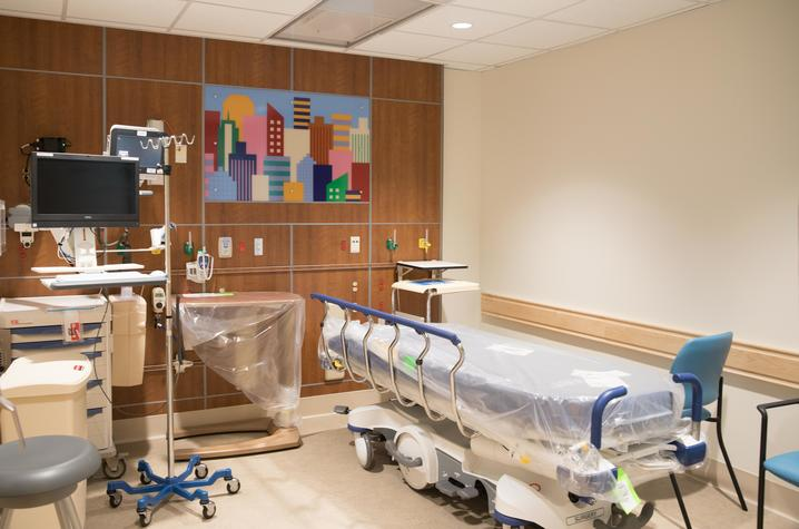 Photo of patient room in the pediatric sedation and procedure unit