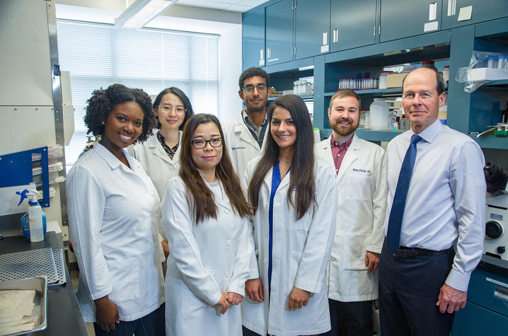 "UK Superfund Research Center director Bernhard Hennig (right) with doctoral students who are part of the center's ""Project #1,"" which examines how nutrients affect toxicity caused by PCBs in vascular tissues."