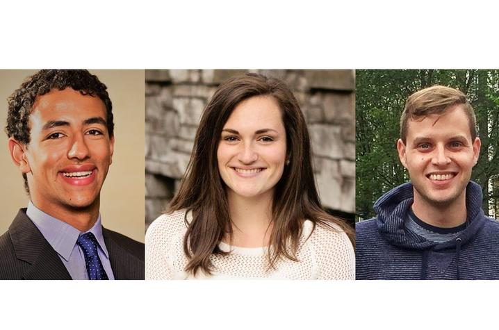 headshot photos of Mohanad Abdallah, Emily Major and Jared Schmal/RISE - DAAD recipients