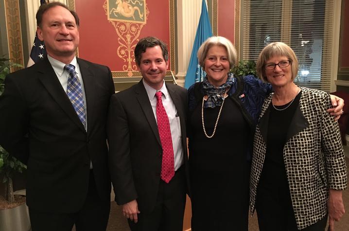 photo of Supreme Court Justice Samuel Alito, Doug Boyd, Martha Alito, AFC Director Elizabeth Peterson