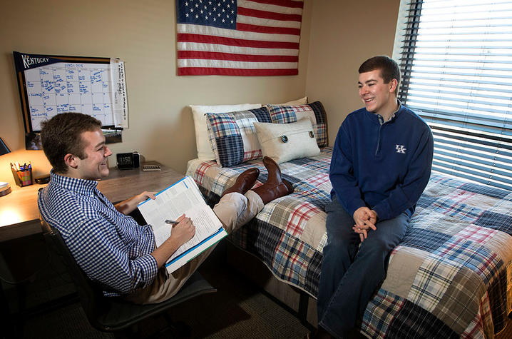 This is a photo of Clay Thornton (L) and Chase Thornton (R) in their residence hall on UK's campus.