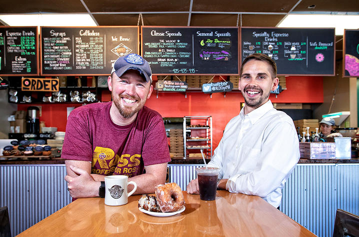 This is a photo of Joe Ross and Teddy Ray, UK Alumni and co-owners of North Lime Coffee and Donuts
