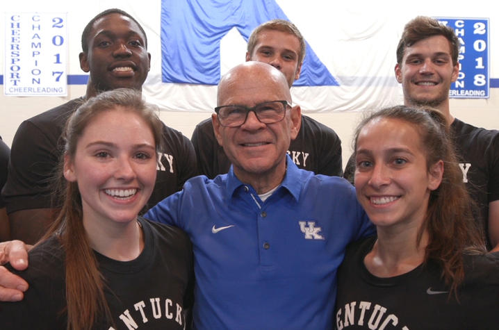 T. Lynn Williamson with members of the UK Cheerleading Squad