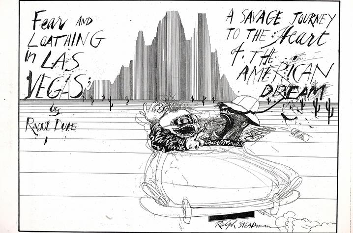 """photo of black and white illustration """"Journey to Las Vegas"""" by Ralph Steadman"""