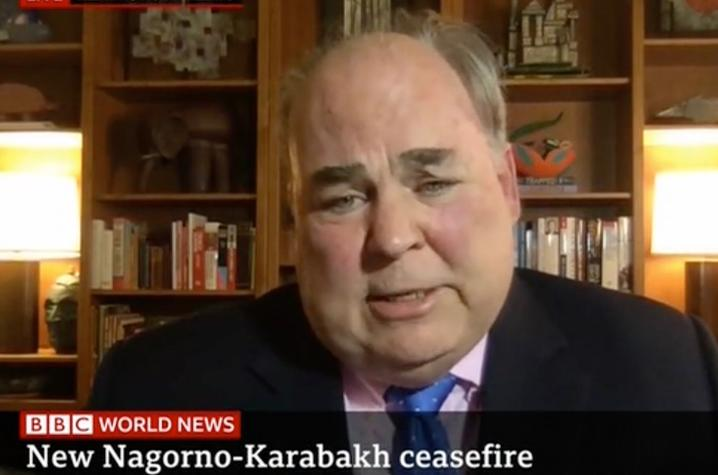 Screenshot of Ambassador and Patterson School faculty member Carey Cavanaugh interviewing live on BBC World News.