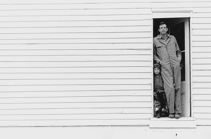 "photo of Wendell Berry and child in door - ""Look and See"""
