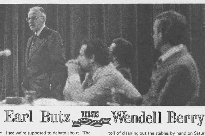 "photo of article covering event attended by Earl Butz where Wendell Berry debated his message - ""Look and See"""