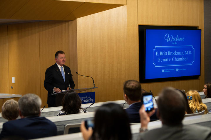 photo of Britt Brockman speaking at Senate Chamber dedication