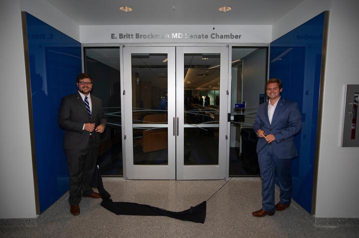 Photo of SGA President Michael Hamilton and Senate President Dylan Byrum.r