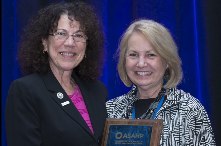Photo of CHS associate dean Sharon Stewart with ASAHP president Linda Petrosino