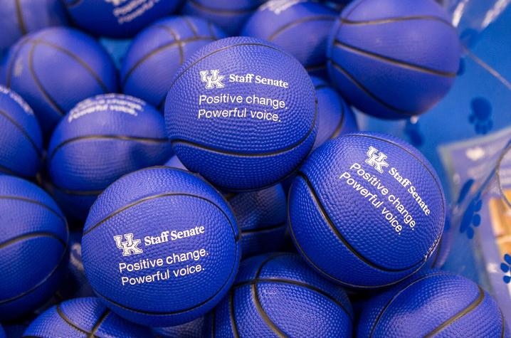photo of stress balls promoting Staff Senate