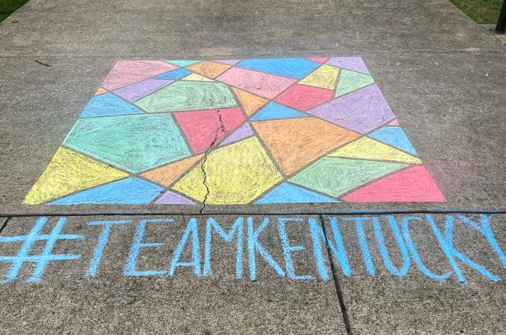 photo of #TeamKentucky chalked sidewalk - In This Together