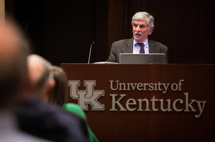 Photo of John Thelin at a recent talk and book signing at the Boone Center