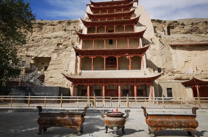 photo of temple at Mogao grottoes