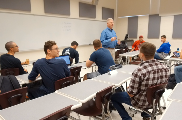 This is a photo of Tony Dotson teaching student veterans at UK.