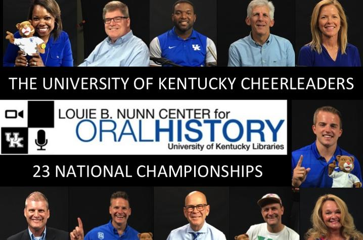 photo of web banner for UK Cheerleading Oral History Collection featuring 11 cheerleaders, coaches and mascots
