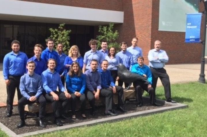 photo of 2017-18 UK Percussion Studio in front of Singletary Center